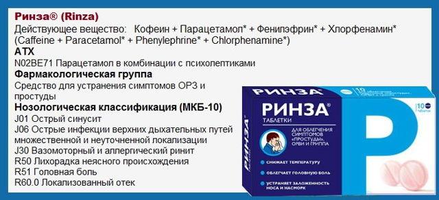 Ринза: инструкция по применению таблеток, аналоги